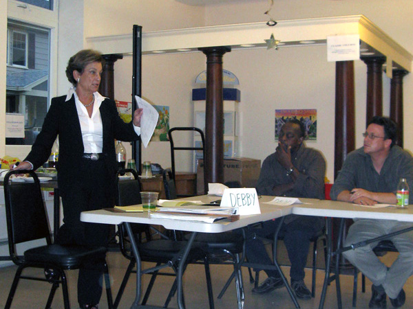 Deborah leading a workshop with Neighborhood Housing Services of New Haven, Inc.